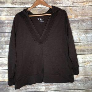 Venezia sport pullover hoodie brown top plus 18/20